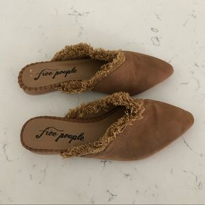 Free People Brown Fray Flats